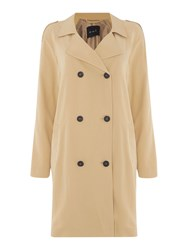 Oui Relaxed Double Breasted Coat Beige