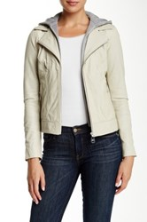 Doma Baby Venice Hooded Leather Jacket Beige