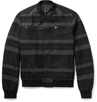 Balenciaga Striped Cotton Blend Jacquard Bomber Jacket Black