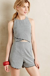 Anthropologie Scalloped Gingham Romper Black And White
