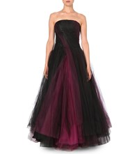 Oscar De La Renta Strapless Layered Tulle Gown Guava Rose