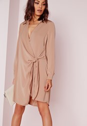 Missguided Crepe Wrap Shirt Dress Nude Grey