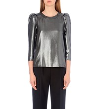 Claudie Pierlot Brillant Metallic Top Argent