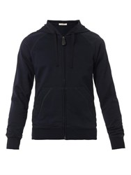 Bottega Veneta Navy Zip Front Hooded Sweatshirt