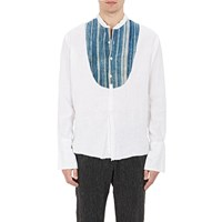Greg Lauren Baja Striped Bib Studio Shirt White