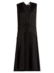 Rebecca Taylor Dropped Waist Sleeveless Crepe Midi Dress Black