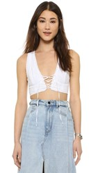 Free People As You Wish Embroidered Crop Top White