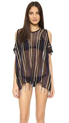 L Space Nightfall Beach Cover Up Black