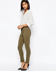 Asos High Waist Trousers In Skinny Fit Khaki Green