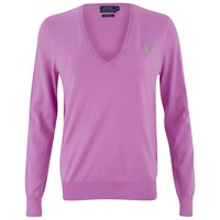 Polo Ralph Lauren Women's V Neck Jumper Vibrant Violet Purple