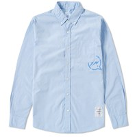 Denim By Vanquish And Fragment Button Down Broadcloth Shirt Blue