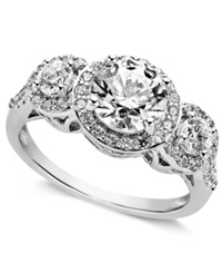 Arabella Sterling Silver Ring Swarovski Zirconia Three Stone Ring 3 1 3 Ct. T.W. Clear