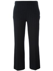 Odeeh Pinstripe Cropped Tailored Trousers Black