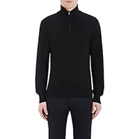 Maison Martin Margiela Men's Leather Patch Knit Sweater Black Blue Black Blue