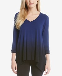 Karen Kane V Neck Ombre T Shirt Dark Blue