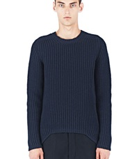 Rick Owens Ribbed Knit Crew Neck Sweater Navy