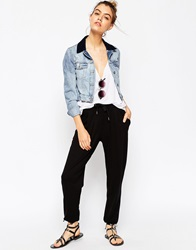 Asos Jersey Peg Trousers With Draw Cord Waist Black