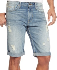 Guess Straight Leg Cuffed Shorts Dark Blue