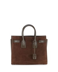 Saint Laurent Sac De Jour Small Suede Carryall Tote Bag Coffee Coffee Coffee