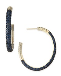 Slane Large Cabarat Pave Blue Sapphire Hoop Earrings