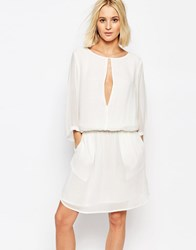 Gestuz Dress With Cinched Waist And Split Front White