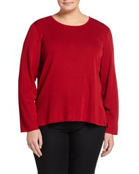 Ming Wang Plus Long Sleeve Basic Knit Tee Red