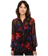 Ellen Tracy Tie Blouse Pop Art Floral 1 Women's Pajama Black