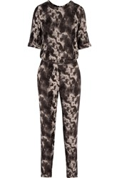 American Vintage Doly City Printed Crepe Jumpsuit Brown