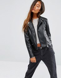 Pull And Bear Pullandbear Pu Biker Jacket Black