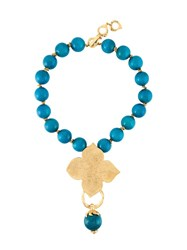 Yves Saint Laurent Vintage Leaf Pendant Necklace Blue