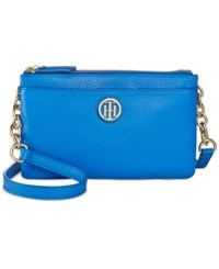 Tommy Hilfiger Double Zipper Pebble Leather Crossbody Bright Midnight