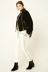 Forever 21 Studded Low Rise Skinny Jeans Ivory