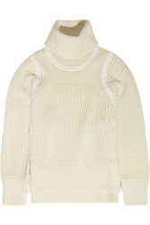 Helmut Lang Ribbed Knit Wool Blend Turtleneck Sweater White