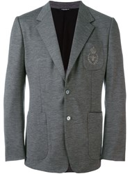 Dolce And Gabbana Embroidered Crown Bee Blazer Grey