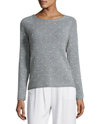 In Cashmere Pearl Stud Sweater Black
