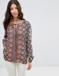 B.Young Fanda String Tie Boho Blouse Chestnut Brown