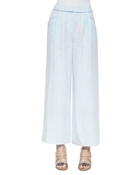 Lafayette 148 New York Pleated Wide Leg Linen Pants
