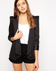 Traffic People Everyone Loves Rainbows Blazer With Sequin Turn Up Sleeve Black