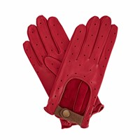 Gizelle Renee Bernadette Ruby Red Leather Driving Gloves With Coffee Cashmere