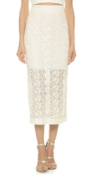 Monique Lhuillier Billie Pencil Skirt Silk White