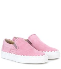 Chloe Ivy Suede Slip On Sneakers Pink