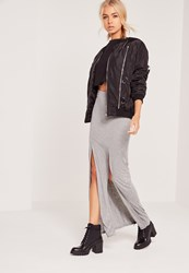 Missguided Double Front Split Maxi Skirt Grey Grey