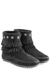 Minnetonka Concho Fringed Suede Ankle Boots With Studs Gr. 7