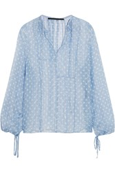 Haider Ackermann Polka Dot Crinkled Chiffon Top Sky Blue