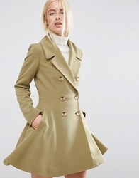 Asos Skater Coat With Oversized Collar Olive Green