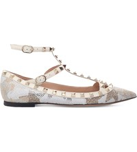 Valentino Rockstud Camustars Crystal Embellished Leather Ballet Flats White Oth