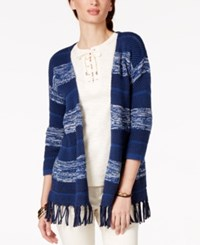 American Living Fringe Striped Sweater Cardigan Only At Macy's Blue Multi