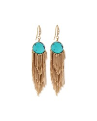 Lydell Nyc Golden Turquoise Bead Fringe Drop Earrings Blue