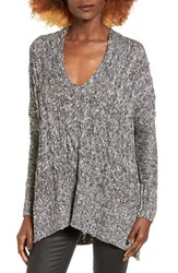 Love By Design Women's Marled Cable Knit Pullover Black White Marled