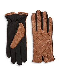 Lord And Taylor Quilted Leather Tech Gloves Luggage